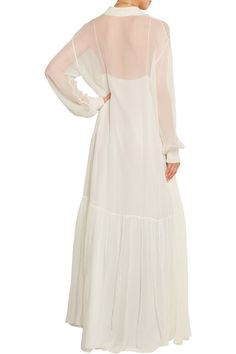 Ivory silk-chiffon Slips on 100% silk Dry clean Made in France