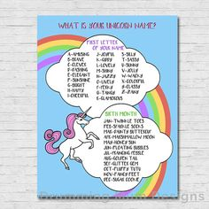 What is your unicorn Name? Birthday Party Sign | Rainbow Unicorn Party Decoration | Party Sign | Decor *** This listing is for an INSTANT DOWNLOAD PDF DIGITAL FILE. No physical prints will be sent.*** This was fun at my daughters party! ***************** DESCRIPTION: ***************** This 8 1/2 x 11 high-resolution, non-editable printable PDF file is available via instant download. Once purchased and downloaded, you will be able to print as many signs as you need on your own printer or...