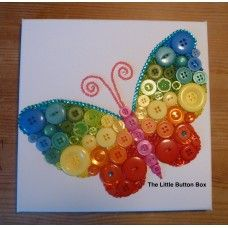 Button Art Rainbow Butterfly