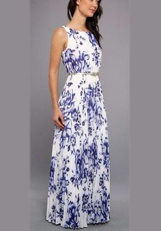 Blue Floral Print Ruffle Silver Belt Chiffon Casual Fashion Maxi Dress