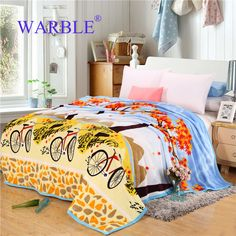 WARBLE  Comfortable Blanket On The Bed Air Conditioning Plaid Portable Bedspread with Bicycle Pictures #Affiliate