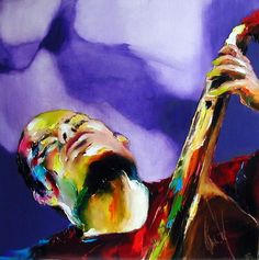 solo contre basse - Peinture,  80x80 cm ©2005 par Christian Vey -