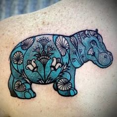 Egyptian Hippo Tattoo by David Hale of Love Hawk Studios, Athens, GA - MoMa Hippo David Hale Tattoo, Animal Lover Tattoo, Animal Tattoos, Fox Tattoos, Hand Tattoos, Sleeve Tattoos, Cute Tattoos, Beautiful Tattoos, Tatoos