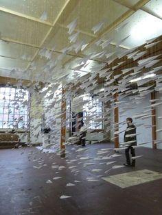hanging kinetic art installation Astrid Bin
