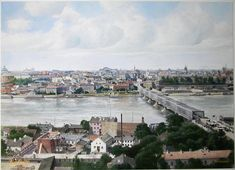 The Wisla (Vistula) riverbanks from the East with the city panorama @ the beginning of XX c., Warsaw, Poland