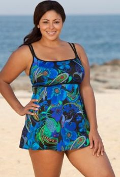 Longitude Blue Marrakesh Plus Size Lingerie Swimdress Plus Size Swimsuit - Blue - Size:18W Longitude. $49.99
