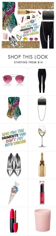 """""""Sparkle and shimmer of a bright and shiny new year"""" by marcusv ❤ liked on Polyvore featuring Barton Perreira, J Brand, Halpern, Givenchy, Riedel, Casadei, MoÃ«t & Chandon, Tops Malibu, Revlon and Bella Freud"""
