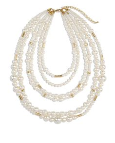 Chico's Aster Layered Simulated Pearl Necklace #chicos