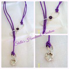Handmade 925 silver necklace with purple silk cord and amethyst stone. Χειροποίητο κολιέ από ασήμι 925 με μεταξωτό μωβ κορδόνι και πέτρα αμέθυστος.