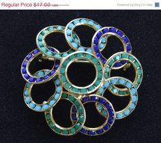 On Sale Pretty Vintage Shades of Blue Circle Brooch