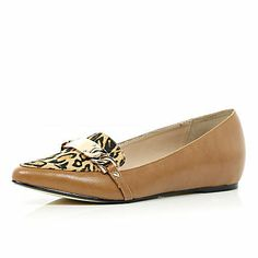 Brown leopard print panel loafers $50.00