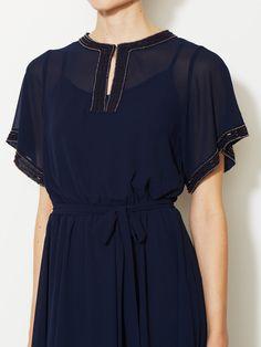 Avaleigh Beaded Chiffon Tie-Waist Dress