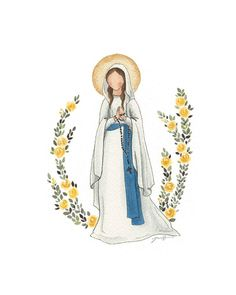 Our Lady of Lourdes Watercolor print religious artwork Catholic Art, Religious Art, Catholic Wallpaper, Jesus Cartoon, Jesus Mary And Joseph, Our Lady Of Lourdes, Jesus Art, Blessed Mother Mary, Sacred Art