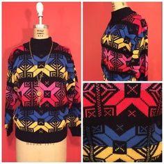 Vtg. Vintage Aztec Geometric 80's Drop Sleeve Turtleneck Sweater. Hipster Medium