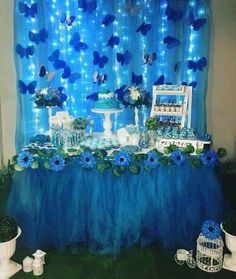 Butterfly Party Decorations, Sweet 16 Decorations, Butterfly Birthday Party, Quince Decorations, Butterfly Baby Shower, 18th Birthday Party, Birthday Decorations, Birthday Party Themes, Blue Butterfly