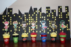 Superhero Centerpiece Choose your character by WhimzicalCreationz Marvel Baby Shower, Superhero Baby Shower, Superhero Birthday Party, 2nd Birthday Parties, Boy Birthday, Birthday Ideas, Superhero Centerpiece, Party Fiesta, Party Themes
