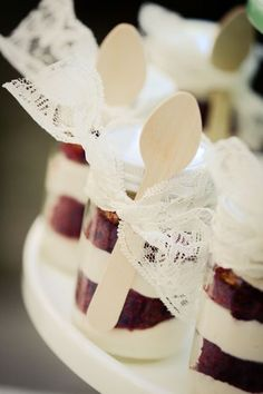 @ Jaelyn Yount and Megan Dalton check this site out.  Neet ideas for a reception Megs, mini red velvet mason jar desserts
