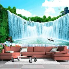 Custom photo wallpaper Living TV company office landscape waterfall landscape  background large mural 3d wall murals wallpaper #Affiliate