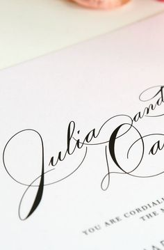 This sophisticated wedding invitation suite features large names in an elegant vintage script font. Shown in black ink with a soft gray garden rose envelope li Vintage Wedding Invitations, Wedding Invitation Suite, Wedding Stationery, Wedding Fonts, Invitation Ideas, Sophisticated Wedding, Elegant, Vintage Glam, Romantic Weddings