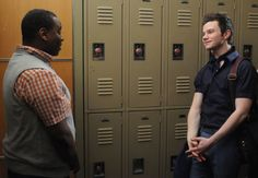 Alex Newell--who plays Wade--confides in  Chris Colfer's Kurt.