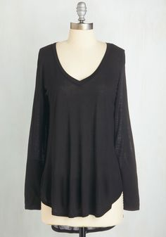 Casual You Need Top in Black - Mid-length, Black, Solid, Casual, Minimal, Long Sleeve