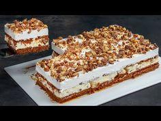 Ciasto z ciastek Twix będzie hitem Twojej kuchni. Bez piekarnika, szybko, łatwo. - YouTube Biscuits, Layered Desserts, Biscuit Cake, Four, Dessert Bars, Fritters, Nutella, Cake Recipes, Sweet Treats