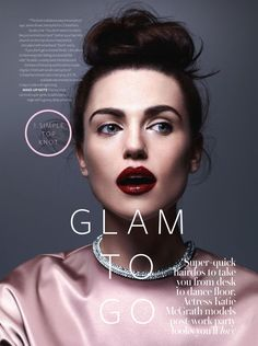 BEAUTY HAIR EDITORIAL INSTYLE UK ACTRESS KATIE MCGRATH GLAM TO GO PHOTOGRAPHER NAOMI WANG STYLING BY ROBYN KOTZE MAKE UP HAIR BY JESSICA TIB...