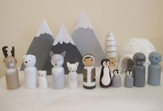 Polar Animals and Inuit Peg Doll set by PaintedAcornArt on Etsy https://www.etsy.com/uk/listing/448691490/polar-animals-and-inuit-peg-doll-set