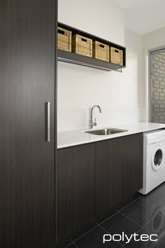 Building On A Budget Posts House Building Ideas Layout Wheels Product Laundry Nook, Laundry Cabinets, Laundry In Bathroom, Bathroom Renos, Bathrooms, Minimalist House Design, Minimalist Home, Melamine Cabinets, Laundry Solutions