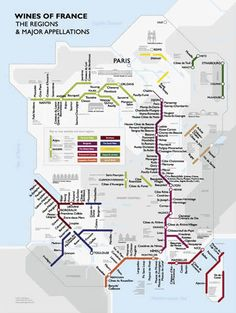Metro style map of the wine regions of France