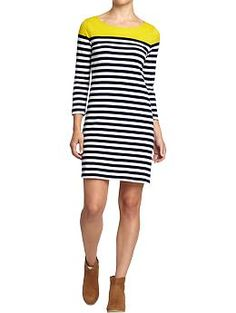 Women's Striped Color-Block Jersey Dress (Citronella). Old Navy. $24.94
