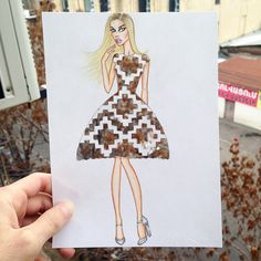 Armenian fashion illustrator Edgar Artis uses stylized paper cut outs and everyday objects to create beautiful dresses.