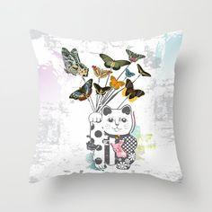 Couch Pillows, Down Pillows, Cat Pillow, Maneki Neko, Fashion Room, Designer Throw Pillows, Pillow Design, Pillow Inserts, Vintage Designs