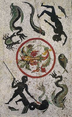 Fishing scene | Roman Mosaic, House of Menander |  Pompeii/Pompei, Italia