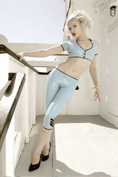 powder blue latex http://thepinuppodcast.com shares this images to support pin up and rockabilly artists, models and photographers.