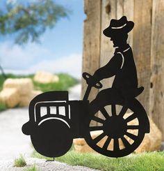 Metal Farm Tractor Shadow Stake  Lawn Ornament