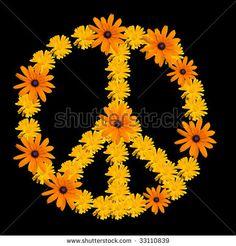 Peace symbol made from orange flower calendula