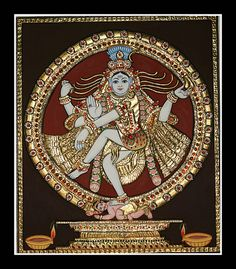 "Tanjore paintings are traditional Tamil artworks dating back to 1600 C.E. Nayaks of Thanjavur were the chief patrons of this art. They have a rich gold work with semiprecious / precious stones, vibrant colors a devotional composition. The themes are ltd to Hindu gods, goddesses saints. Large composition have a central figure episodes from Hindu mythology around that central deity. Also referred as ""palagai padam"" (palagai – wood, padam – picture) as they are made in solid wooden planks."