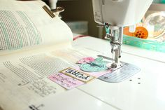Sewing in your Bible with April Crosier on Illustrated Faith. A great resource for those looking for information about how to sew in the margins of your journaling bible.