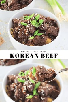 Beef Paleo, Grain Free) This Korean Beef is the perfect hearty meat dish with lots of fresh ginger and garlic for a healthy and comforting slightly sweet dish without any added sugar! Korean Beef Recipes, Meat Recipes, Cooker Recipes, Paleo Recipes, Asian Recipes, Low Carb Recipes, Real Food Recipes, Dinner Recipes, Paleo Dinner