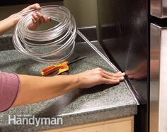 If crumbs, papers or even flatware falls into the gap between your countertop and refrigerator, fill the void with nearly invisible plastic tubing. Clear tubing is available at home centers in several widths starting at 1/8 in.