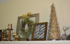 our rustic glam Christmas mantel