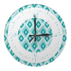 Turquoise IKat Wall Clock
