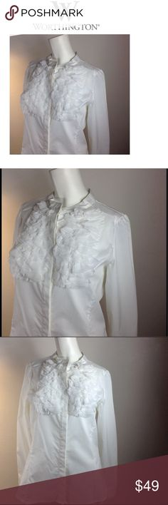 """Worthington Top Worthington Button Up Ruffle White Top, chest 42"""", length 26"""" waist 37"""" New, no price tag, but the extra Botton on tag still in tact.  Never worn Worthington Tops Button Down Shirts"""