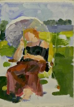 Figure in Landscape   7x10 Oil on Paper  E. Regan