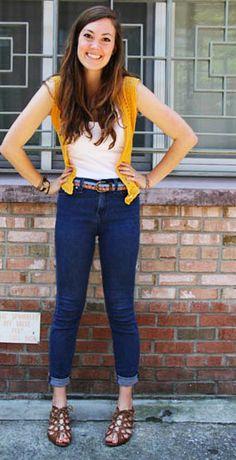 College Fashion at Elon University - Crochet Vest #fashiontrend #collegefashion #collegeoutfit