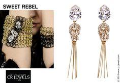 "Cr jewels // women's fashion Jewelry. ""SWEET REBEL"" collection // #earrings #fashion #CRJewelsitaly #jewels #jewelry #bijoux #jewellery #sweetrebelcollection #cristinaraviglione #gold #swarovski #SwarovskiElements"