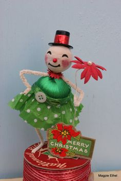 Vintage Style Spun Head Snowman Gal with Poinsettia by MagpieEthel