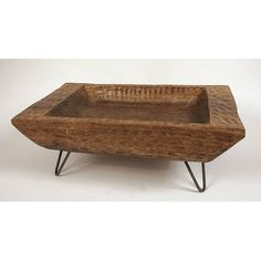 Unique creative metal rod legs | Creative Co-Op Hand Carved Mango Wood Tray with