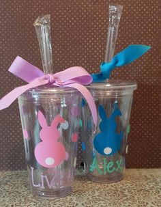 Personalized Insulated 16 ounce tumbler with name and bunny. High quality vinyl is used to embellish this acrylic tumbler cups which are made of BPA free plastic, double insulated and includes a screw-on lid and matching removable straws. Great Easter basket stuffer! During checkout leave message regarding: 1. Name for personalization2. Color vinyl #1 3. Color vinyl #2
